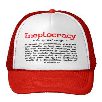 Gorra de la definición de Ineptocracy (rojo y