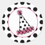 Gorra de la fiesta de cumpleaños del lunar etiqueta