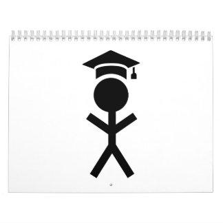 Gorra de la graduación del estudiante calendario de pared