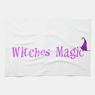 Gorra de la magia de las brujas toalla de cocina