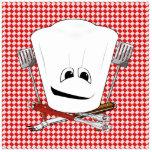 Gorra de la mesa de picnic w/Chef con las herramie Esculturas Fotograficas