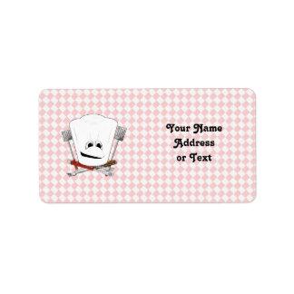 Gorra de la mesa de picnic w/Chef con las herramie Etiqueta De Dirección
