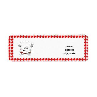 Gorra de la mesa de picnic w/Chef con las herramie Etiqueta De Remite