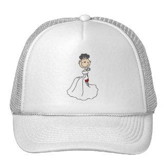 Gorra de la novia del pelo negro