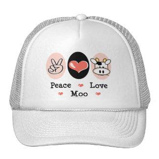 Gorra de la vaca del MOO del amor de la paz