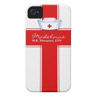 Gorra de las enfermeras en personalizado rojo y Case-Mate iPhone 4 fundas