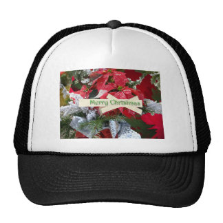 Gorra de las Felices Navidad del Poinsettia