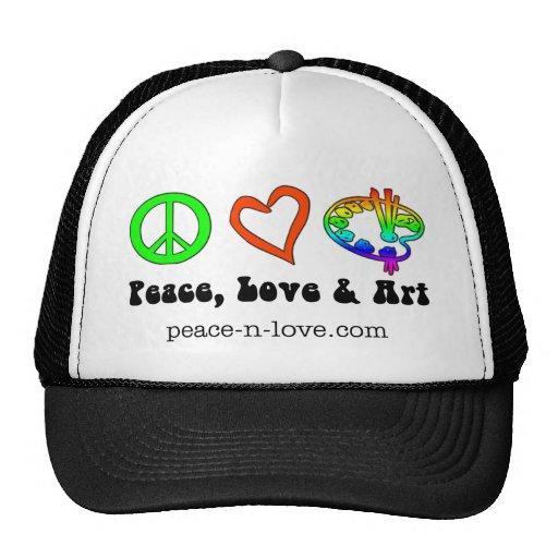 Gorra de las muestras de la paz, del amor y del ar