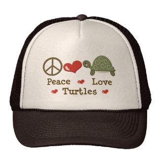 Gorra de las tortugas del amor de la paz