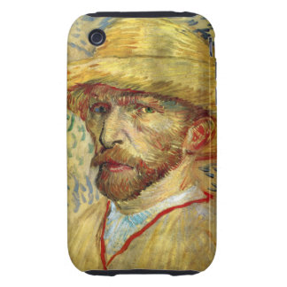 Gorra de paja del autorretrato de Van Gogh Carcasa Resistente Para iPhone