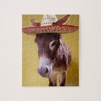 Gorra de paja del burro que lleva (hemonius del puzzle con fotos