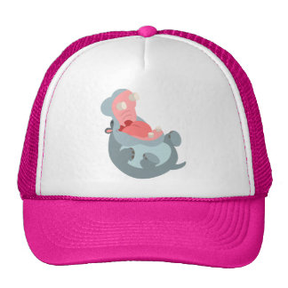 Gorra de risa lindo del hipopótamo del dibujo anim