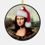 Gorra de Santa de Mona Lisa Adornos De Navidad