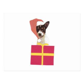 Gorra de Santa del fox terrier del juguete Tarjeta Postal