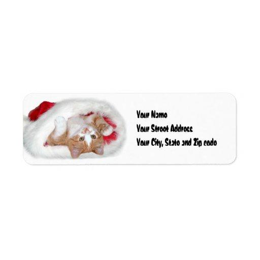 Gorra de Santa del gatito. Etiqueta De Remitente