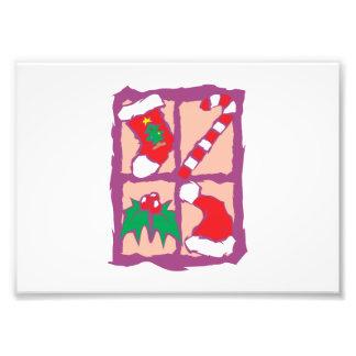 Gorra de Santa del muérdago del bastón de caramelo Impresion Fotografica
