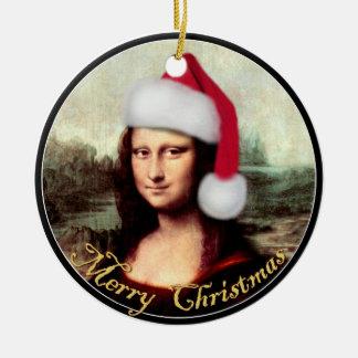 Gorra de Santa del navidad de Mona Lisa Adorno Redondo De Cerámica