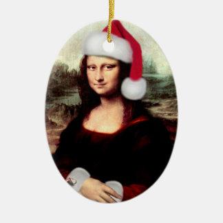 Gorra de Santa del navidad de Mona Lisa Adorno Ovalado De Cerámica