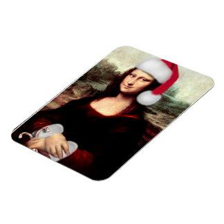 Gorra de Santa del navidad de Mona Lisa Iman Rectangular
