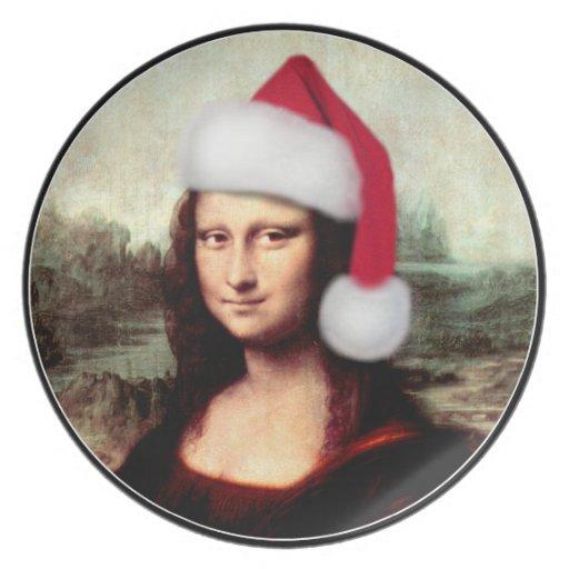 Gorra de Santa del navidad de Mona Lisa Plato De Comida