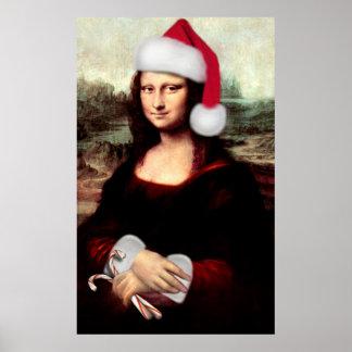 Gorra de Santa del navidad de Mona Lisa Póster