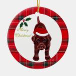 Gorra de Santa del perrito de Labrador del chocola Ornamente De Reyes