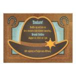 Gorra de vaquero - azul - invitaciones de la fiest anuncio personalizado