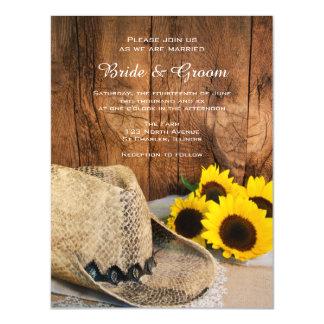 Gorra de vaquero, boda de madera del país del invitaciones magnéticas