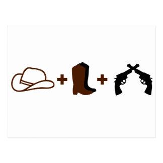 Gorra de vaquero, botas y revólveres tarjeta postal