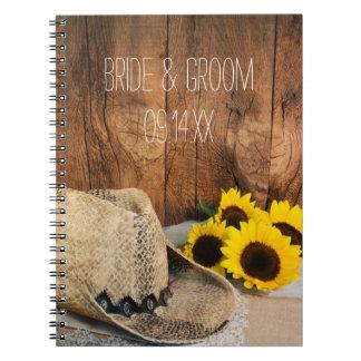 Gorra de vaquero, girasoles, boda de madera del libretas espirales