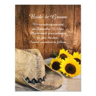 Gorra de vaquero, reserva del boda del granero de invitaciones magnéticas