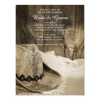 Gorra de vaquero y boda de madera del país del invitaciones magnéticas