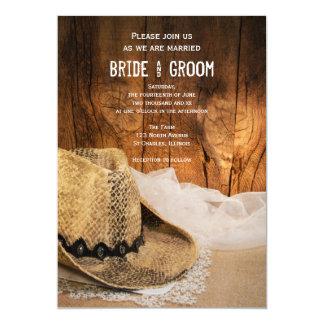 """Gorra de vaquero y boda occidental de madera del invitación 5"""" x 7"""""""