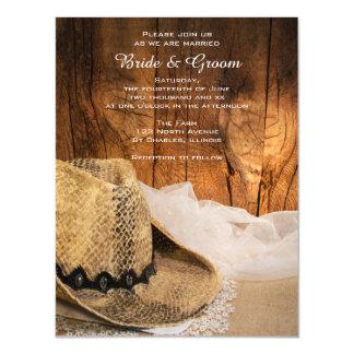Gorra de vaquero y boda occidental de madera del invitaciones magnéticas