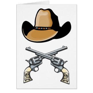 Gorra de vaquero y revólveres cruzados tarjeta de felicitación
