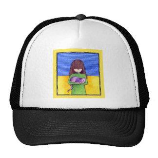 Gorra del amarillo de la abrazo del gato
