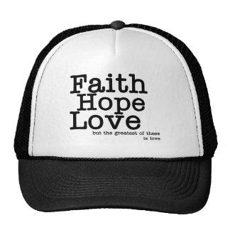 Gorra del amor de la esperanza de la fe
