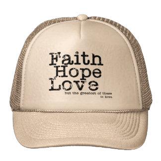 Gorra del amor de la esperanza de la fe del vintag