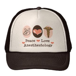 Gorra del Anesthesiology del amor de la paz
