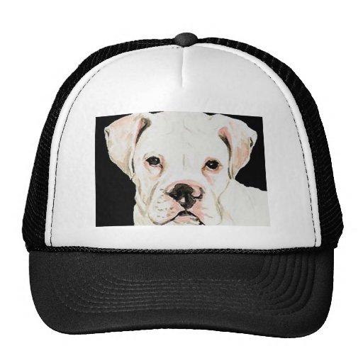 """Gorra del arte del perro del """"boxeador blanco"""""""