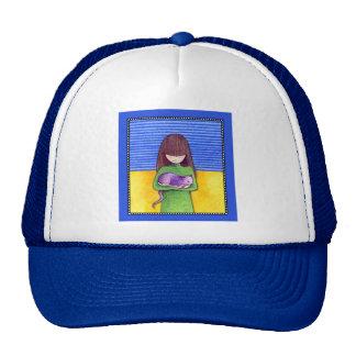 Gorra del azul de la abrazo del gato