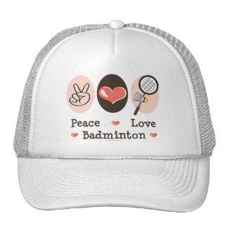 Gorra del bádminton del amor de la paz