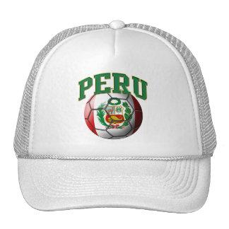Gorra del balón de fútbol de la bandera de Perú