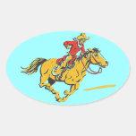 Gorra del barril de la raza del jinete de rodeo pegatina ovalada