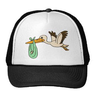 Gorra del bebé de la cigüeña que lleva divertida A