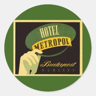 Gorra del Bellhop de Budapest Hungría del viaje Pegatina Redonda