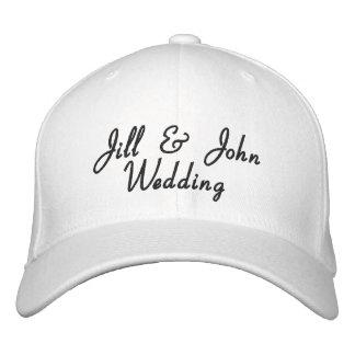 Gorra del blanco de los nombres de la novia y del  gorra de beisbol bordada