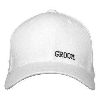 Gorra del blanco del novio gorra bordada