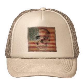 Gorra del camionero con el cráneo y la bandera ame