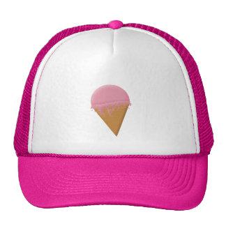 Gorra del camionero del cono de helado de fresa
